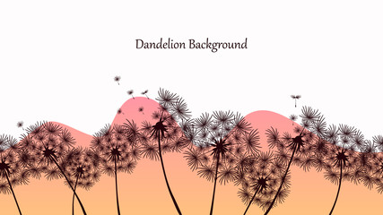 Seamless pattern with dandelions and abstract wave. The background image of the channel. Social network cover template. Print with floral  design. Vector illustration of a field with dandelions.