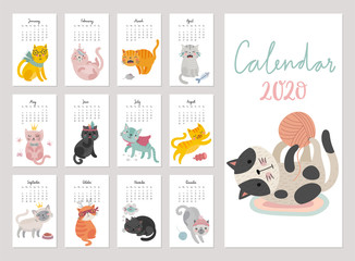 Fototapete - Calendar 2020. Cute monthly calendar with cats. Hand drawn characters with different mood.
