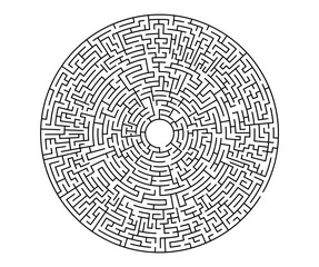 Very hard black vector labyrinth in flat style on an isolated white background. Round maze puzzle. A game for the of logic, intelligence, find the way exit from the circle.