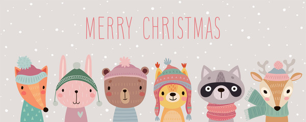 Wall Mural - Merry Christmas card with Cute animals. Hand drawn characters in winter clothes. Greeting flyer.