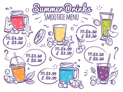 Smoothie menu. Fruit drinks, colorful organic cocktail juices with berries. Detox diet with lettering for cafe menu vector brochure design
