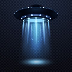 UFO. Realistic alien spaceship with blue light beam, futuristic sci fi unidentified spacecraft isolated 3d vector illustration