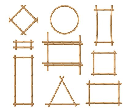 Bamboo frame. Wooden brown bamboo stick square and round border frames tied by ropes in japanese and chinese style vector isolated mockups