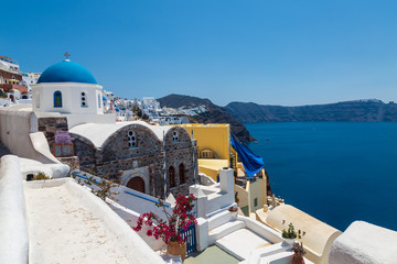 View of the Orthodox Greek Church of St. Nicholas. Santorini, Oia, Greece