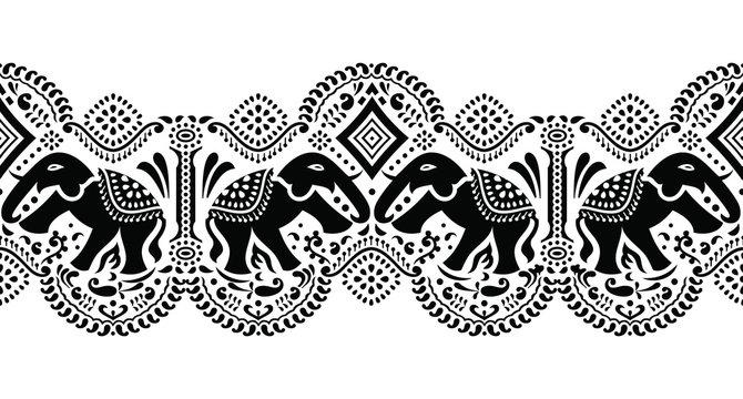 Seamless traditional black and white Asian elephant border design