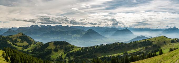 Wall Mural - Panoramic view on beautiful Swiss Alps surrounding Lake Lucerne