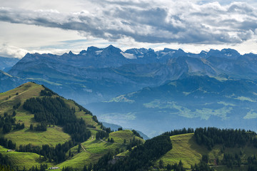 Wall Mural - Swiss Alps as seen from Queen of the mountains - Mount Rigi in canton of Schwyz
