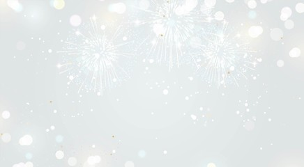Festive background with fireworks and lights in silver colors. Vector illustration