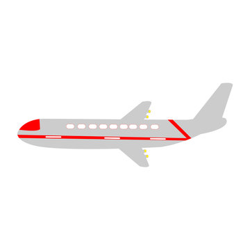 A Beautiful Red And Grey Plane On A White Backdrop
