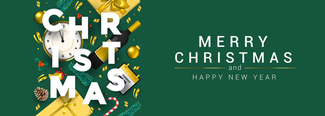 Holiday New year card - Merry Christmas on colored background 7