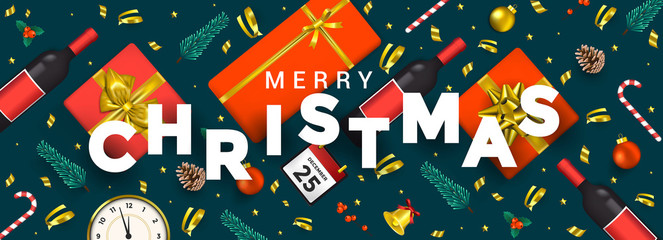 Holiday New year card - Merry Christmas on colored background 8