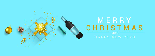 Holiday New year card - Merry Christmas on Blue background