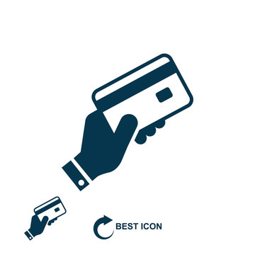 Hand holding a credit card icon on white background