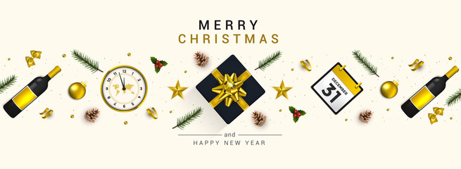 Holiday New year card - Merry Christmas on White background 5