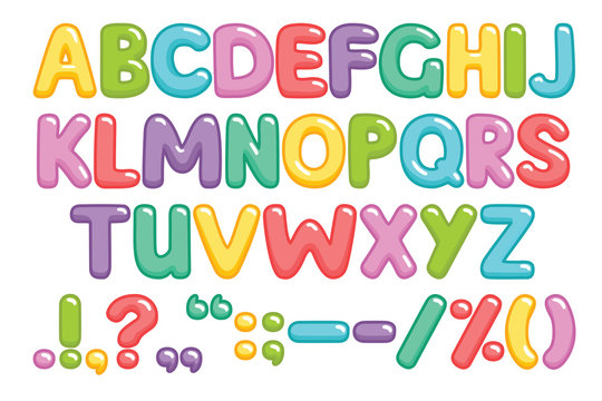 Funny children font with color letters. Colorful alphabet on a white background. Vector illustration.