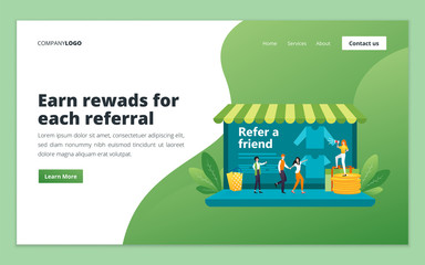 Referral marketing web page design template. Affiliate marketing, network marketing, business partnership and refer a friend concept for website and mobile website development