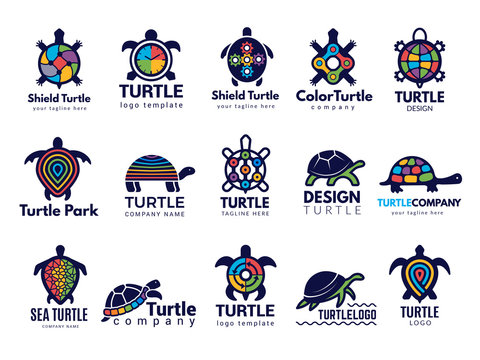 Turtle symbols. Business logo wild sea animals tortoise vector colored stylized pictures collection. Animal turtle company logo, sea tortoise illustration