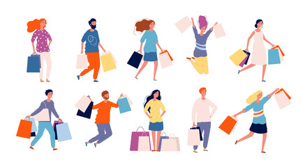 Shopping people. Male and female person buying products in market place vector shopper characters collection. Illustration buyer shopaholic, woman do shopping