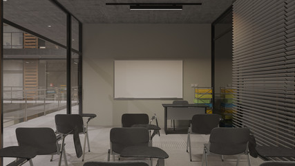 Nighttime Rendering of a Seminar Room in a Multi Story Building with Inner Balcony 3D Rendering