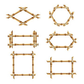 Bamboo frames. Wooden rustic asian banners template bamboo stick vector collections. Illustration bamboo frame with rope, space empty