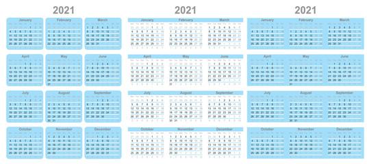 Satz vom Kalender für 2021 Jahr. Woche beginnt am Montag. - Vektor Wall mural
