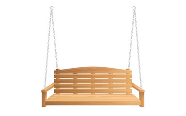 Wooden porch swing hanging on chains isolated on white background. Vector swing bench for outdoor, garden and patio