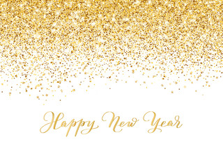 Wall Mural - Merry Christmas and New Year background. Gold glitter decoration