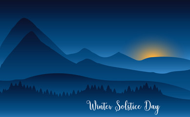 Fototapeten Blaue Nacht Winter solstice day in December the 21. Greeting card design template. The dark sky with sunset or sunrise. The longest night in the year.