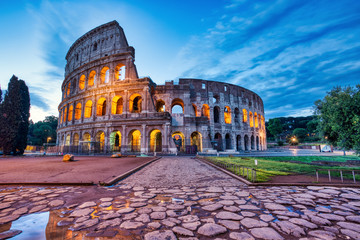 Aluminium Prints Rome Illuminated Colosseum at Dusk, Rome