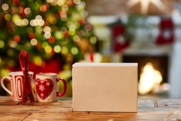 Christmas still life with box and fireplace
