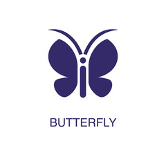 Butterfly element in flat simple style on white background. Butterfly icon, with text name concept template
