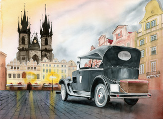 Watercolor picture of an old retro car on th Old Town Square in Prague