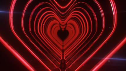 Corridor of flashing neon red hearts 3D rendering illustration