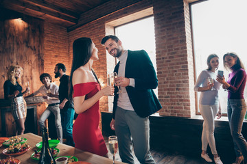 Portrait of nice attractive lovely trendy cheerful cheery guys people colleagues meeting spending festal day corporate event enjoying at modern industrial loft brick wood style interior house Wall mural