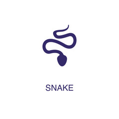 Snake element in flat simple style on white background. Snake icon, with text name concept template