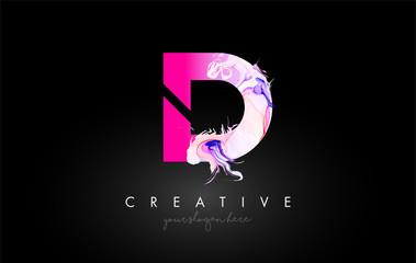 Fototapeta D Letter Artistic Purple Paint Flow Icon Logo Design. Creative Ink Flowing Letter Icon Design Vector obraz