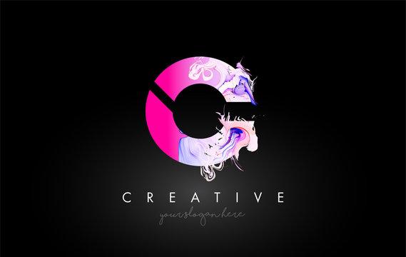 C Letter Artistic Purple Paint Flow Icon Logo Design. Creative Ink Flowing Letter Icon Design Vector