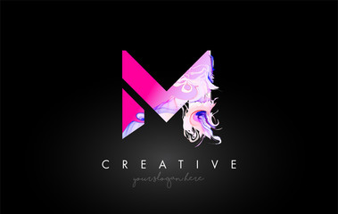M Letter Artistic Purple Paint Flow Icon Logo Design. Creative Ink Flowing Letter Icon Design Vector