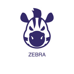 Zebra element in flat simple style on white background. Zebra icon, with text name concept template