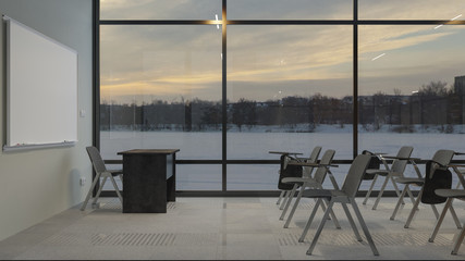 Illuminated Classroom at Sunset with Winter Landscape 3D Rendering