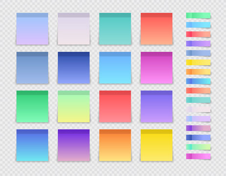 Set of post note sticker and square stickers. Blank colorful sticky notes. Office blanks, reminder lists collection. Vector illustration.