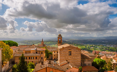 Perugia medieval historic center and Umbria countryside with clouds above