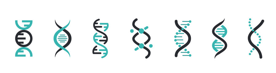 DNA Icons set. DNA Structure molecule icon. Vector molecule. Chromosome icon