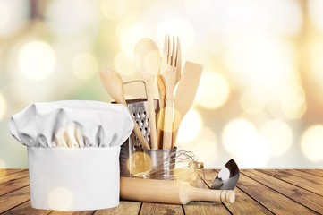 Set of kitchen utensils on background