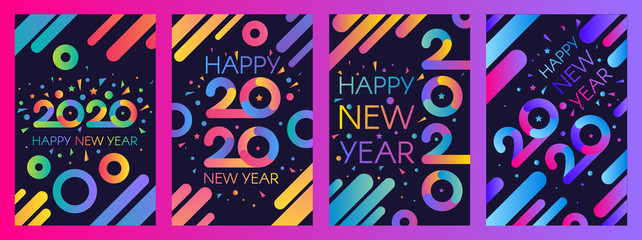 2020 New Year vector poster templates set Wall mural
