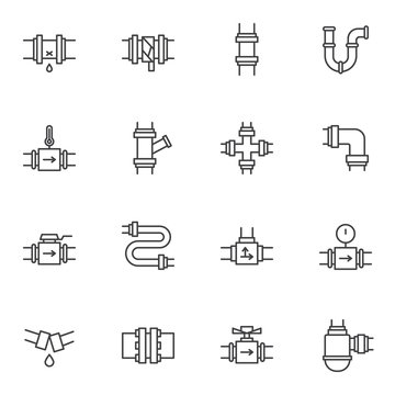 Plumbing line icons set. linear style symbols collection, outline signs pack. vector graphics. Set includes icons as water pipes connections, pipeline, gauge pressure meter, broken pipe repair