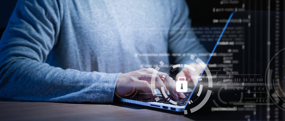 close up programmer man hand (employee) typing computer language (binary code) to input on security system to protect and prevent malware (virus) for cyber security concept