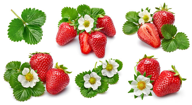 Set berry strawberry and raspberry with green leaves, isolated on white background.