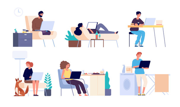 People surfing internet. Man and woman online with gadget, laptop. Guys spend time in internet shopping and chatting vector flat set. Illustration surfing networking, using web chatting communication