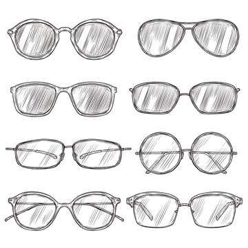 Sketch sunglasses. Hand drawn eyeglass frames, doodle eyewear. Male and female glasses isolated fashion vector vintage set. Illustration sunglasses and eyeglasses sketch, fashion drawn